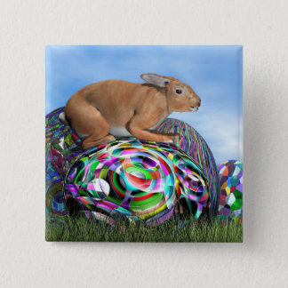 Rabbit on its colorful egg for Easter - 3D render 2 Inch Square Button