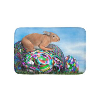 Rabbit on its colorful egg for Easter - 3D render Bath Mat