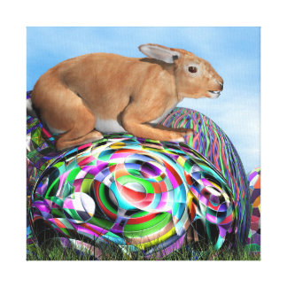 Rabbit on its colorful egg for Easter - 3D render Canvas Print