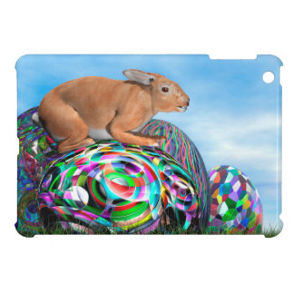 Rabbit on its colorful egg for Easter - 3D render Case For The iPad Mini