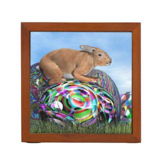 Rabbit on its colorful egg for Easter - 3D render Desk Organizer
