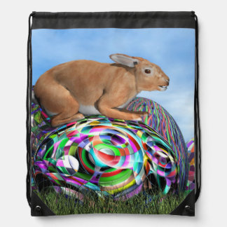 Rabbit on its colorful egg for Easter - 3D render Drawstring Bag