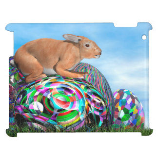 Rabbit on its colorful egg for Easter - 3D render iPad Cases