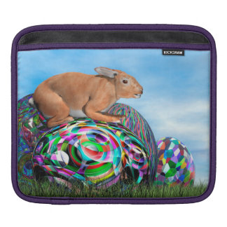 Rabbit on its colorful egg for Easter - 3D render iPad Sleeve