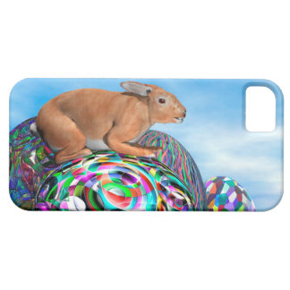 Rabbit on its colorful egg for Easter - 3D render iPhone 5 Case