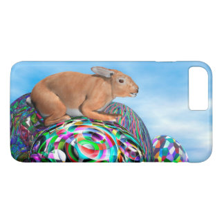 Rabbit on its colorful egg for Easter - 3D render iPhone 7 Plus Case