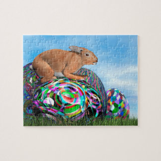 Rabbit on its colorful egg for Easter - 3D render Jigsaw Puzzle