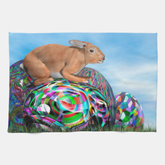 Rabbit on its colorful egg for Easter - 3D render Kitchen Towel