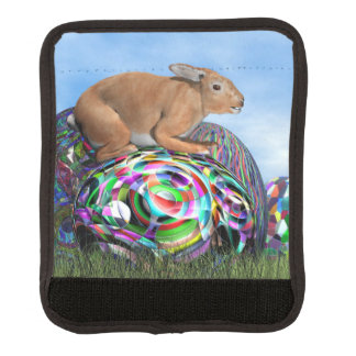 Rabbit on its colorful egg for Easter - 3D render Luggage Handle Wrap