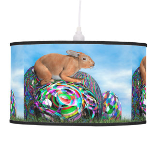 Rabbit on its colorful egg for Easter - 3D render Pendant Lamp