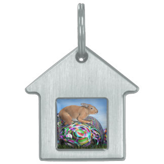 Rabbit on its colorful egg for Easter - 3D render Pet ID Tag