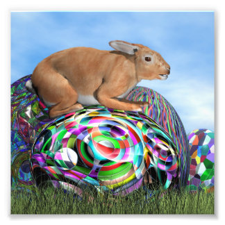 Rabbit on its colorful egg for Easter - 3D render Photo Print