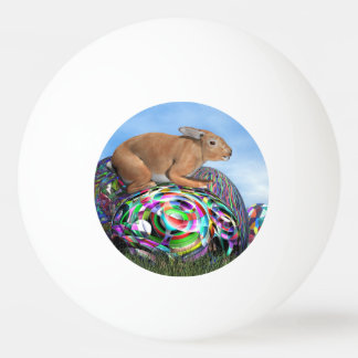 Rabbit on its colorful egg for Easter - 3D render Ping Pong Ball