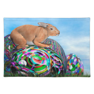 Rabbit on its colorful egg for Easter - 3D render Placemat