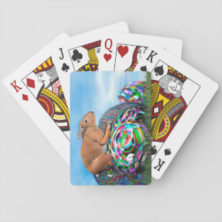 Rabbit on its colorful egg for Easter - 3D render Playing Cards