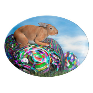 Rabbit on its colorful egg for Easter - 3D render Porcelain Serving Platter