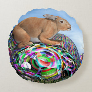 Rabbit on its colorful egg for Easter - 3D render Round Pillow