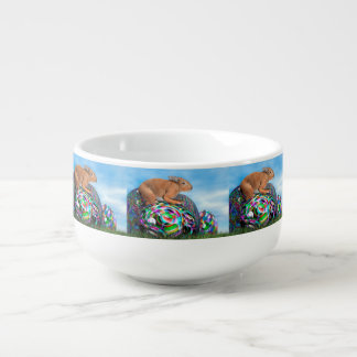 Rabbit on its colorful egg for Easter - 3D render Soup Mug