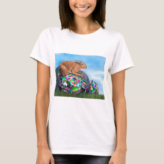 Rabbit on its colorful egg for Easter - 3D render T-Shirt