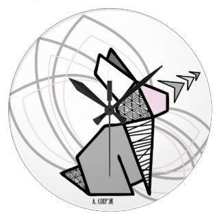 Rabbit origami large clock
