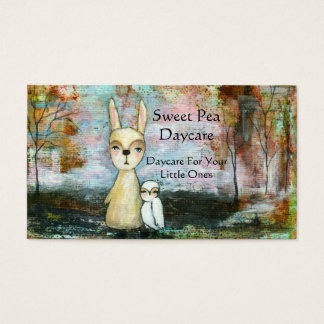 Rabbit Owl Woodland Creatures Daycare Babysitter Business Card