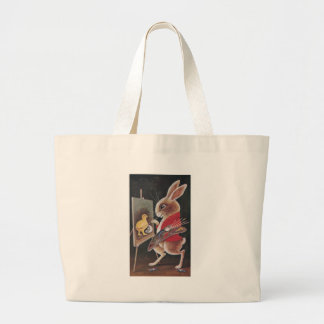 Rabbit Painting Chick Vintage Easter Jumbo Tote Bag