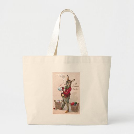 Rabbit Painting Easter Eggs Vintage Tote Bags