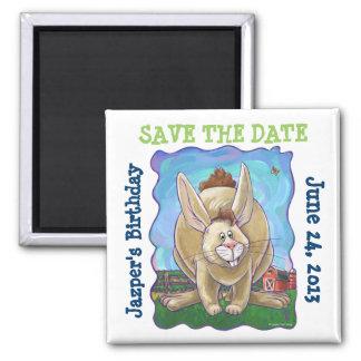 Rabbit Party Center Square Magnet