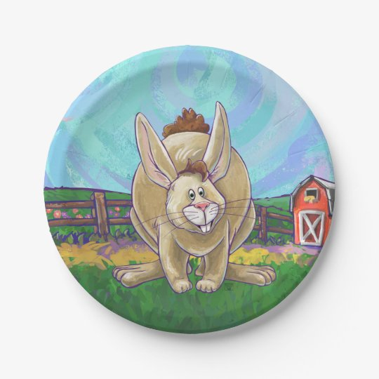 Rabbit Party Centre 7 Inch Paper Plate