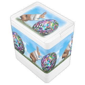 Rabbit pushing easter egg - 3D render