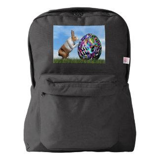 Rabbit pushing easter egg - 3D render Backpack