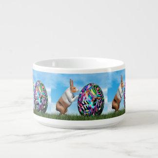 Rabbit pushing easter egg - 3D render Bowl