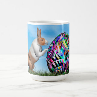 Rabbit pushing easter egg - 3D render Coffee Mug