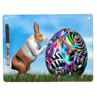 Rabbit pushing easter egg - 3D render Dry Erase Board With Keychain Holder