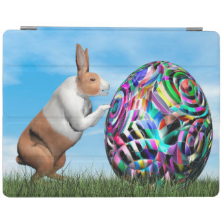 Rabbit pushing easter egg - 3D render iPad Cover