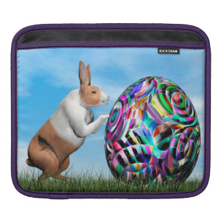 Rabbit pushing easter egg - 3D render iPad Sleeve