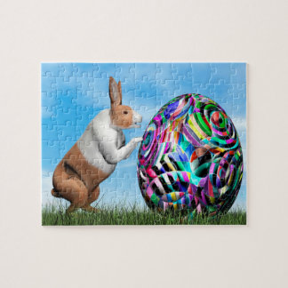 Rabbit pushing easter egg - 3D render Jigsaw Puzzle