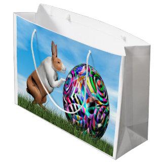 Rabbit pushing easter egg - 3D render Large Gift Bag