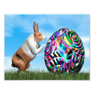 Rabbit pushing easter egg - 3D render Photo Print
