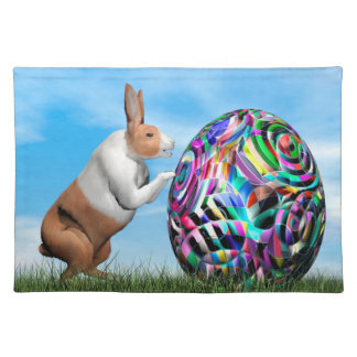 Rabbit pushing easter egg - 3D render Placemat