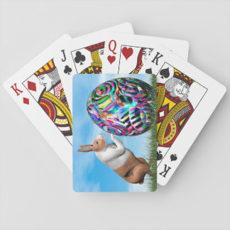 Rabbit pushing easter egg - 3D render Poker Deck
