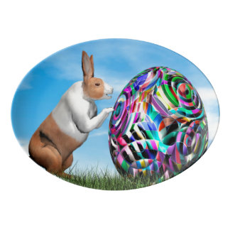 Rabbit pushing easter egg - 3D render Porcelain Serving Platter