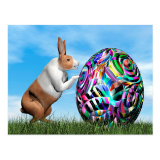 Rabbit pushing easter egg - 3D render Postcard