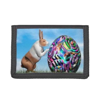 Rabbit pushing easter egg - 3D render Trifold Wallet