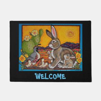 Rabbit Quail Welcome Door Mat Southwestern Cactus