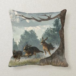 Rabbit Race Throw Pillow