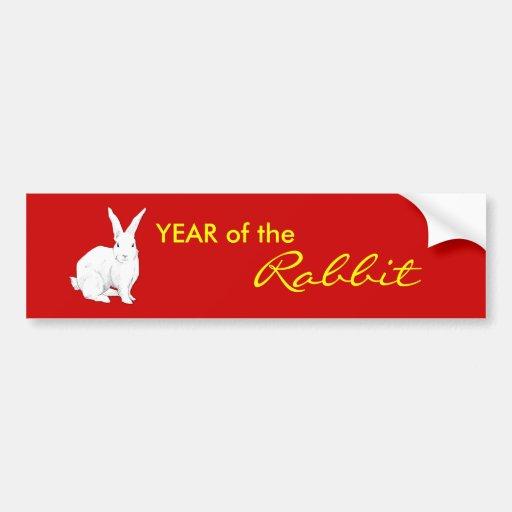 Rabbit red Chinese New Year Bumper Sticker