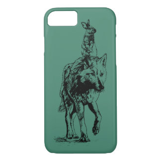 Rabbit riding a Wolf iPhone 7 Case