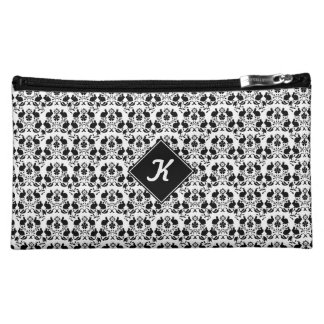 Rabbit & Rose Damask Pattern Cosmetic Bag