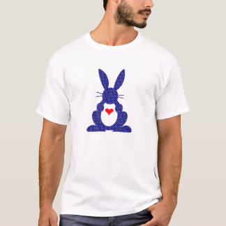 Rabbit Silhouette, Blue Background White Stars. T-Shirt